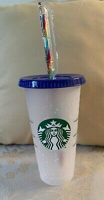 Starbucks Color Changing Confetti Cup w/ Rainbow Straw Summer 2020