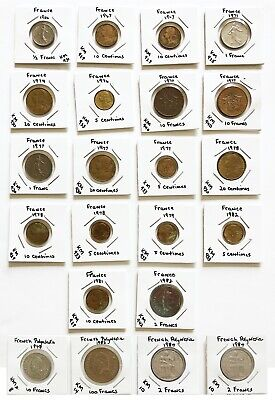 France & French Polynesia Coin Lot  Nice Assortment 1966 -1984 (22) Carded Coins