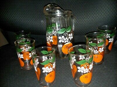 Vintage Orange Juice Glass Pitcher With 6 Glasses