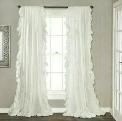 "Lush Decor White Reyna Ruffled Window Panels 95"" L  (pair)"