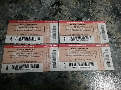 Four(4)Knott's Berry Farm Admission Ticket - Valid ONE DAY ONLY Through 6/30/20
