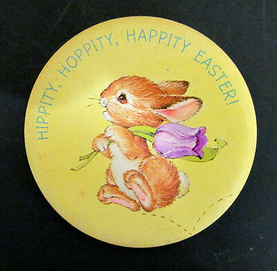 Vintage Easter pinback Hippity Hoppity Happity Easter Easter Bunny Round pin