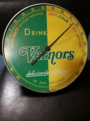 Vernors Ginger Ale Round Advertising Thermometer Sign Gas Station Oil