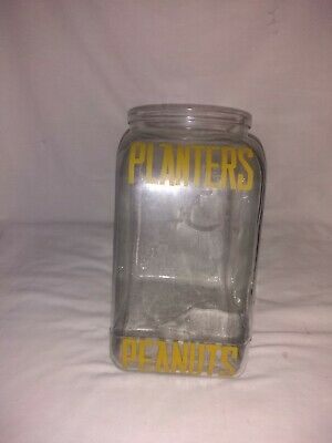 Antique planters peanut glass jar without lid, 10 inches tall