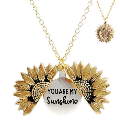 You Are My Sunshine Sunflower Open Locket Pendant Necklace Jewelry Mother's Day