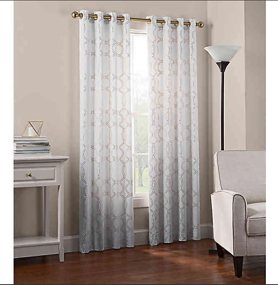 "Newport Wave Light-Filtering Grommet Top Window Curtain 84"" Panel in Gold"