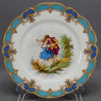 19th Century Sevres Style Courting Couple Celeste Blue & Gold Cabinet Plate