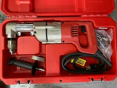 "Milwaukee 3107-6 Corded Right Angle 1/2"" Drill 1107-1 w/ Handle & Case- MINT"