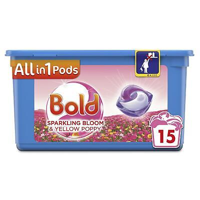 Bold All in 1 Pods Bloom & Yellow Poppy Washing Liquid Capsules, 15 Fresh Washes