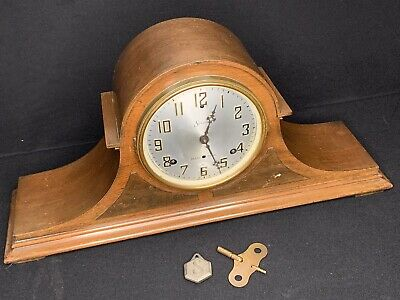 Antique Sessions 8 Day Mantle Clock Westminster Chimes w/key Runs - See Video