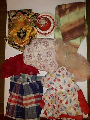 Vintage 2 Aprons, 5 Scarves, and old Pin Cushion