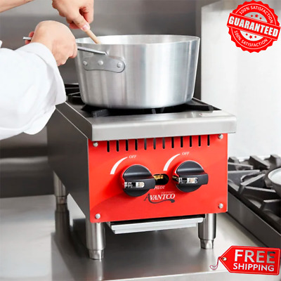 Compact Gas Burner 2 Hot Plate Countertop Kitchen Restaurant Food Cooking Range