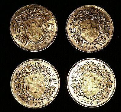 LOT ISA4. 4 PIECES 20 Francs or SUISSE  TTB -  Poids brut 6,45 gr 900/1000-
