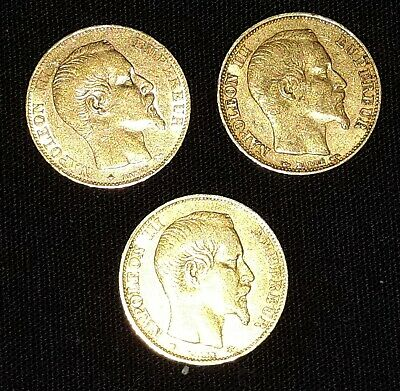 LOT ISA5. 3 PIECES 20 Francs or NAPOLEON III  TTB - Poids brut 6,45 gr 900/1000-