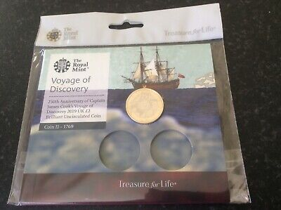 £2 coin. Captain James Cook. Second in the series. Royal Mint pack. 2019.