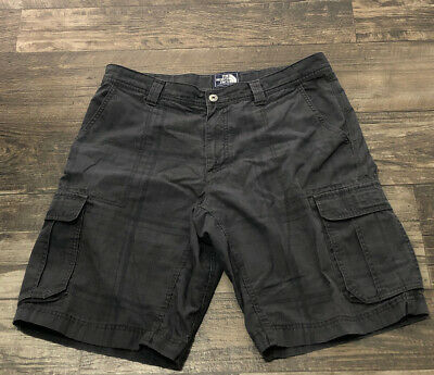 The North Face Charcoal Gray Striped Cargo Shorts Men's Size 36 Cotton Poly