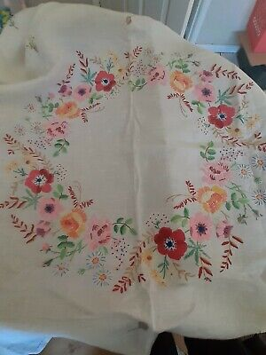 Vintage hand embroidered tablecloth beautiful pastel colours 80 cm x 80cm