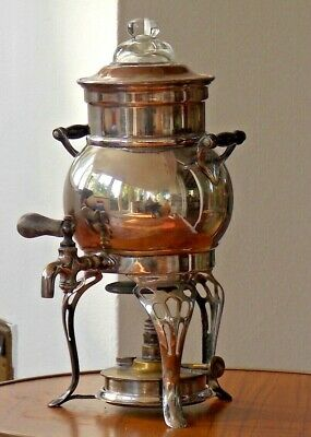 Landers Frary & Clark Coffee Percolator Silver Plate On Copper With Burner 1906