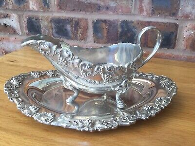 Antique Vintage Gravy Boat & Tray Silver Coloured Metal 3 Marks ? Vines & Berrie