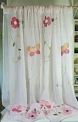 "Butterfly Sheer Curtain Panel Pair Embroidered Applique Pink Green 44x84"" Each"