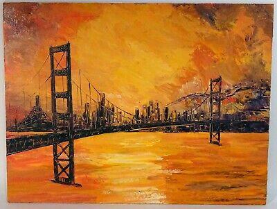 Vintage c 1970 ANNA CHRASTA San Francisco Bay Oil Painting, Golden Gate Bridge