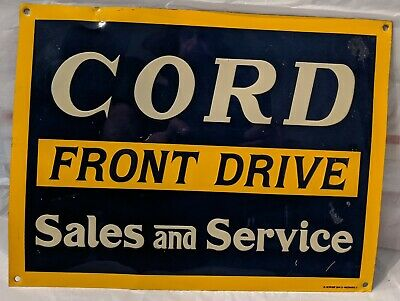 Vintage Cord Front Drive Parts And Service embossed sign