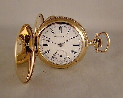 128 YEAR OLD SETH THOMAS 14k GOLD FILLED HUNTER CASE GREAT LOOKING POCKET WATCH