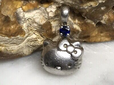 Sanrio HELLO KITTY Sterling Silver 925 Blue Stone Small Charm Pendant