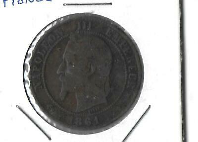 1861B 10 Centimes Old Coin Of France