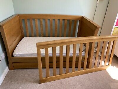 Mamas and Papas Cot Bed / Chest Drawers unit & shelf in Solid Golden Oak