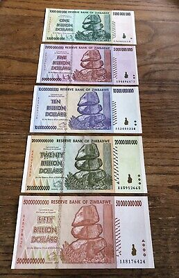 2008 ZIMBABWE Authentic 5 NOTE LOT 1-50 BILLION DOLLARS All GEM UNCIRCULATED!