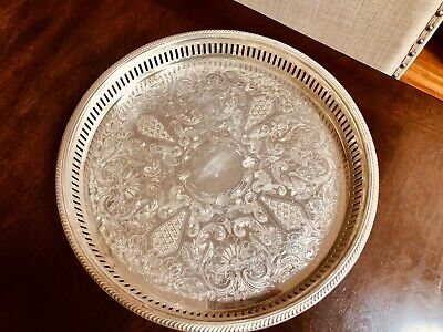 """Silver Plate Bristol Silver 15"""" inch Footed Gallery Tray By Poole"""