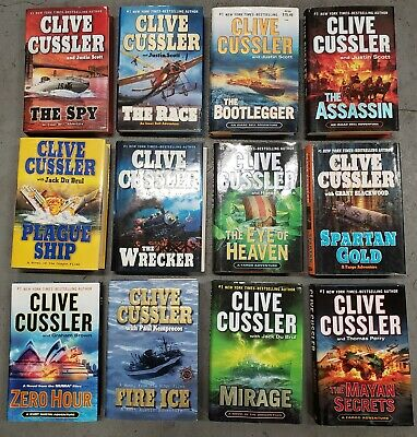 Lot of 12 Clive Cussler Hard Cover Books - Action Adventure - Very Good