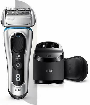 Braun 8391cc Electric Shaver Clean & Charge Station Leather Case Silver NEW