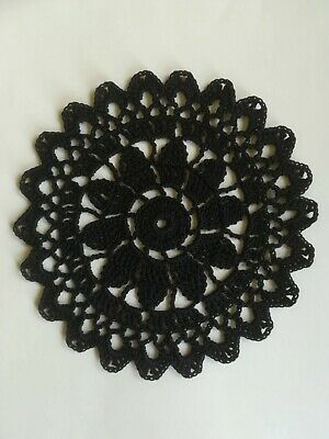 "Crochet Cotton 6"" Coaster/Doily in BLACK Acorn Pattern ideal for Dreamcatcher"