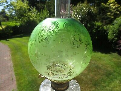 Antique Veritas Verdent Olive Mignonette Green Acid Etched Duplex Oil Lamp Shade
