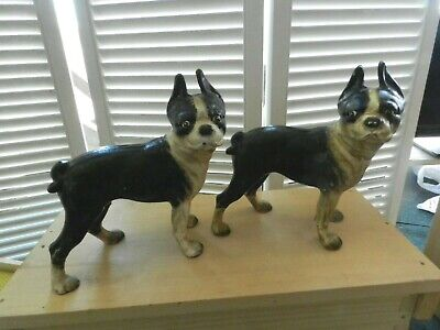 2 Cast Iron Boston Terrier Dog Right-Facing Vintage Door Stop Coin Bank