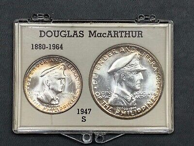 1947-S Philippines General MacArthur 2 Coin Set 1 Peso & 50 Centavos