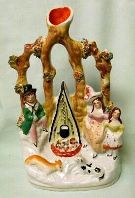 Staffordshire Figure Family At Campfire Spill Vase C.1860 Nr
