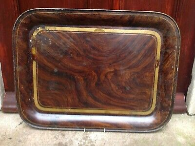 19Th Century Japanned Tinware / Toleware Tray With Faux Bois Decoration