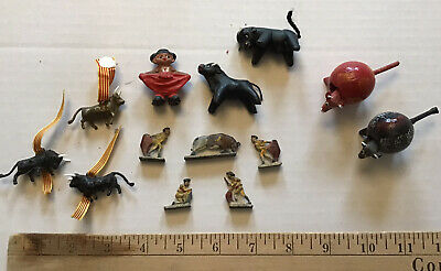 Vintage lot - 13 Miniature Folk Art Bull/Matador Figures