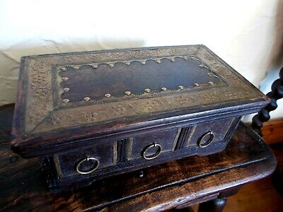 Vintage Dark Wooden Box With Brass Decoration~3 Draw Chest~For Spice Or Trinkets