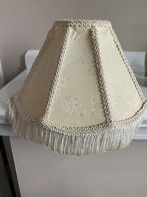 Vintage Victorian Style Ivory Lamp Shade With Fringe