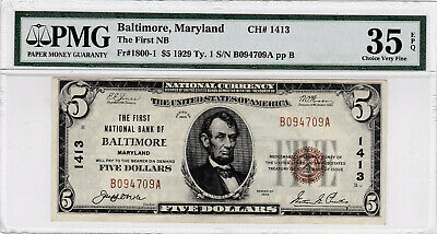 "1929 National $5 T-1 Charter #1413 ""BALTIMORE MD"" PMG 35"