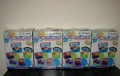 New Lot of 4 Fit Fresh Kid's Healthy Lunch Sets with Removable Ice Packs 14 Pc