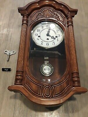 Rare SLIGH 0798-1-AB Wall Clock Oak 8 Key Wound Hermle Westminster Chime WORKS!