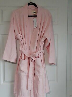 New Womens 1X/2X Seashell Pink Ugg Lorie Terry Wrap Spa Robe Nwts Retailed $98