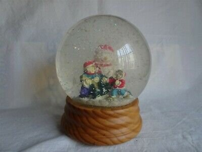 Vintage 1991 Snowman, Christmas Tree, Children, Lighted Musical Snow Globe & Box