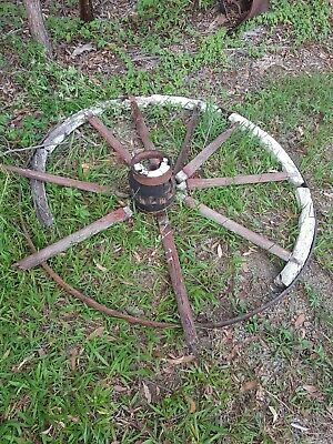 Vintage Old Antique wooden Wagon Wheel / Garden Decor / Mancave