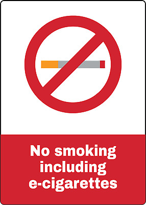 NO SMOKING INCLUDING E-CIGARETTES | Adhesive Vinyl Sign Decal